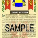 GREGG - GERMAN - Coat of Arms - Family Crest - Armorial GIFT! 8.5x11
