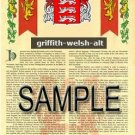 GRIFFITH - WELSH - ALT - Coat of Arms - Family Crest - Armorial GIFT! 8.5x11