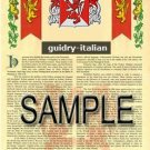 GUIDRY - ITALIAN - Coat of Arms - Family Crest - Armorial GIFT! 8.5x11