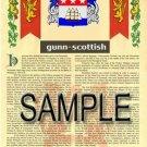 GUNN - SCOTTISH - Coat of Arms - Family Crest - Armorial GIFT! 8.5x11