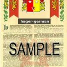 HAGER - GERMAN - Coat of Arms - Family Crest - Armorial GIFT! 8.5x11