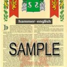 HAMMER - ENGLISH - Coat of Arms - Family Crest - Armorial GIFT! 8.5x11