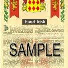 HAND - IRISH - Coat of Arms - Family Crest - Armorial GIFT! 8.5x11