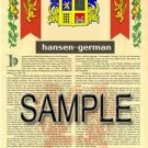 HANSEN - GERMAN - Coat of Arms - Family Crest - Armorial GIFT! 8.5x11