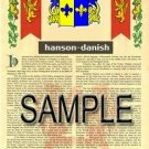 HANSON - DANISH - Coat of Arms - Family Crest - Armorial GIFT! 8.5x11