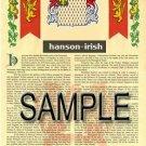 HANSON - IRISH - Coat of Arms - Family Crest - Armorial GIFT! 8.5x11