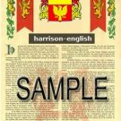 HARRISON - ENGLISH - Coat of Arms - Family Crest - Armorial GIFT! 8.5x11