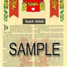 HART - IRISH - Coat of Arms - Family Crest - Armorial GIFT! 8.5x11