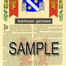 HARTMAN - GERMAN - Coat of Arms - Family Crest - Armorial GIFT! 8.5x11