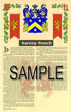 HARVEY - FRENCH - Coat of Arms - Family Crest - Armorial GIFT! 8.5x11