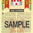 HAY - SCOTTISH - Coat of Arms - Family Crest - Armorial GIFT! 8.5x11