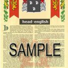 HEAD - ENGLISH - Coat of Arms - Family Crest - Armorial GIFT! 8.5x11