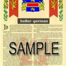 HELLER - GERMAN - Coat of Arms - Family Crest - Armorial GIFT! 8.5x11