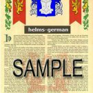 HELMS - GERMAN - Coat of Arms - Family Crest - Armorial GIFT! 8.5x11