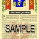HERMAN - GERMAN - Coat of Arms - Family Crest - Armorial GIFT! 8.5x11