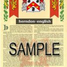 HERNDON - ENGLISH - Coat of Arms - Family Crest - Armorial GIFT! 8.5x11