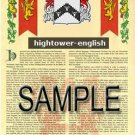 HIGHTOWER - ENGLISH - Coat of Arms - Family Crest - Armorial GIFT! 8.5x11