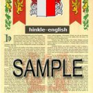 HINKLE - ENGLISH - Coat of Arms - Family Crest - Armorial GIFT! 8.5x11