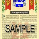 HODGE - ENGLISH - Coat of Arms - Family Crest - Armorial GIFT! 8.5x11