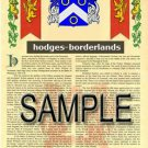 HODGES - BORDERLANDS - Coat of Arms - Family Crest - Armorial GIFT! 8.5x11