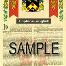HOPKINS - ENGLISH - Coat of Arms - Family Crest - Armorial GIFT! 8.5x11