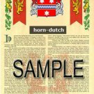 HORN - DUTCH - Coat of Arms - Family Crest - Armorial GIFT! 8.5x11