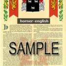 HORNER - ENGLISH - Coat of Arms - Family Crest - Armorial GIFT! 8.5x11