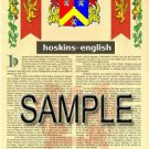 HOSKINS - ENGLISH - Coat of Arms - Family Crest - Armorial GIFT! 8.5x11