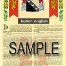 HUBER - ENGLISH - Coat of Arms - Family Crest - Armorial GIFT! 8.5x11