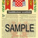 HUDDLESTON - SCOTTISH - Coat of Arms - Family Crest - Armorial GIFT! 8.5x11