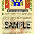 HUERTA - PORTUGUESE - Coat of Arms - Family Crest - Armorial GIFT! 8.5x11