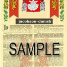 JACOBSON - DANISH - Coat of Arms - Family Crest - Armorial GIFT! 8.5x11