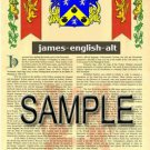 JAMES - ENGLISH - ALT - Coat of Arms - Family Crest - Armorial GIFT! 8.5x11