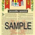 JARAMILLO - SPANISH - Coat of Arms - Family Crest - Armorial GIFT! 8.5x11