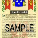 JEWELL - ENGLISH - Coat of Arms - Family Crest - Armorial GIFT! 8.5x11
