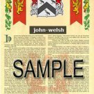 JOHN - WELSH - Coat of Arms - Family Crest - Armorial GIFT! 8.5x11
