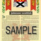 JOHNSON - SCOTTISH - Coat of Arms - Family Crest - Armorial GIFT! 8.5x11
