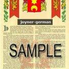 JOYNER - GERMAN - Coat of Arms - Family Crest - Armorial GIFT! 8.5x11