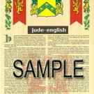 JUDE - ENGLISH - Armorial Name History - Coat of Arms - Family Crest GIFT! 8.5x11