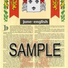 JUNE - ENGLISH - Armorial Name History - Coat of Arms - Family Crest GIFT! 8.5x11