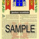 JUSTUS - SCOTTISH - Armorial Name History - Coat of Arms - Family Crest GIFT! 8.5x11