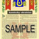 KAMINSKY - UKRAINIAN - Armorial Name History - Coat of Arms - Family Crest GIFT! 8.5x11