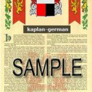 KAPLAN - GERMAN - Armorial Name History - Coat of Arms - Family Crest GIFT! 8.5x11