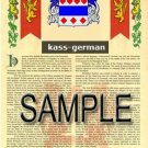 KASS - GERMAN - Armorial Name History - Coat of Arms - Family Crest GIFT! 8.5x11