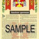 KASTEN - GERMAN - Armorial Name History - Coat of Arms - Family Crest GIFT! 8.5x11