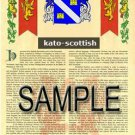 KATO - SCOTTISH - Armorial Name History - Coat of Arms - Family Crest GIFT! 8.5x11