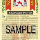 KAVANAUGH - IRISHALT - Armorial Name History - Coat of Arms - Family Crest GIFT! 8.5x11