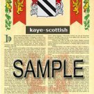 KAYE - SCOTTISH - Armorial Name History - Coat of Arms - Family Crest GIFT! 8.5x11