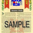 KEANE - IRISH - Armorial Name History - Coat of Arms - Family Crest GIFT! 8.5x11