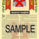 KEARSE - ENGLISH - Armorial Name History - Coat of Arms - Family Crest GIFT! 8.5x11